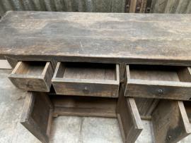 Prachtige grote houten Sidetable tafel dressoir ladekast 205 cm lang ladenkast sideboard landelijk stoer sober oud hout