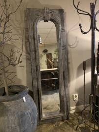 Grote stoere houten spiegel passpiegel 178 x 57cm grijs ash grey
