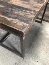 Set van 3 tafels tafeltjes salontafel bijzettafel railway truckwood metalen onderstel frame 123 X 71 x 48 cm