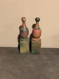 Houten kegel ornament gekleurd color colour vintage landelijk