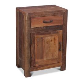 Oud vergrijsd houten Railway truckwood nachtkastjes nachtkastje Milano links landelijk vergrijsde deurtje lade laatje industrieel metalen greepje beslag