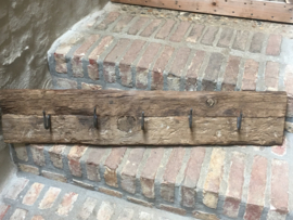 Railway houten kapstok oud hout stoer landelijk wandhaken industrieel