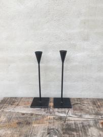 Smeedijzeren kandelaar theelicht industrieel eenvoudig strak landelijk 40 cm