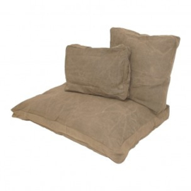 Stoer groen grijsgroen canvas kussen 120 x 80 cm kussentje lounge loungekussen hondenkussen zitkussen kussens kussentjes ruw industrieel grof grove stof vintage landelijk