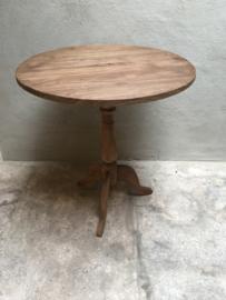Naturel rond houten wijntafeltje rond 70 cm tafel tafeltje wijntafel bijzettafel bijzettafeltje landelijk