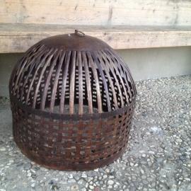 Grote smeedijzeren kortlamp Cage inclusief bedrading korf lampekap hanglamp mand landelijk industrieel