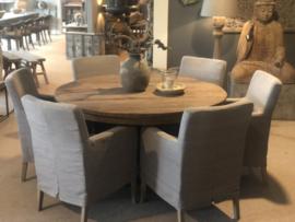 Grote oud vergrijsd houten tafel eettafel bolpoot eetkamertafel rond 160 cm bijzettafel wijntafel wijntafeltje landelijk stoer