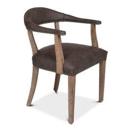 Degelijke stoel houten frame met taupe grijsbruin leren zitting bekleding landelijk stoer vintage industrieel stoelen met armleuning