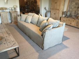 Prachtige grote landelijke stoere sobere beige grijs stone washed linnen bank 260 cm losse hoezen kussens