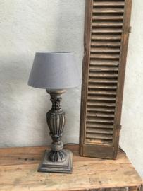 Stoere grijs  vergrijsd antraciet grijs zwart houten balusterlamp tafellamp lamp 50 cm antraciet mat zwart tafellamp landelijk stoer robuust