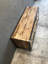 Stoer metalen houten metaal hout kast kastje 120 x 40 x 52 cm tvmeubel tv-kastje ladenkast tvkast televisiemeubel televisiekast televisiekastje landelijk industrieel audiomeubel Sidetable