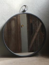 Metalen landelijke grote ronde spiegel spiegeltje 51 cm rond zwart grijs landelijk old look landelijk industrieel