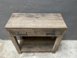 Oude railway truckwood houten haltafel 80 x 80 x 35 cm Sidetable dressoir sideboard ladekast landelijk stoer industrieel ladenkast wastafelmeubel