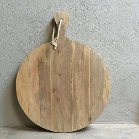 Grote ronde houten broodplank snijplank kaasplank landelijke stijl rond 50 cm