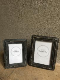 Vergrijsd mat zwart antraciet fotolijst fotolijstjes lijst lijstje landelijk stoer 20 x 15 cm