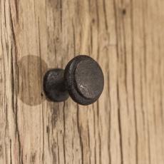 Gietijzeren deurknopje knopje greepje deurknop massief plat metaal landelijk stoer industrieel vintage urban bruin grijsbruin zwart