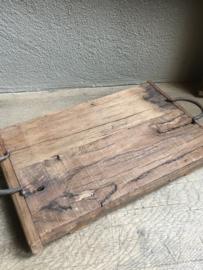 Oud houten dienblad L groot tray railway wagondelen hout met hengsels landelijk