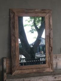 Zeer grove teakhouten spiegel lijst 160 x 80 cm landelijk hout houten
