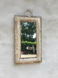 Stoer metalen spiegeltje spiegel 53 x 31 cm landelijk industrieel brocant sober old look oud