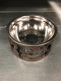 Gietijzeren voerbak rond drinkbak waterbak waterbakje hond kat landelijk brocant gietijzer bruin metaal