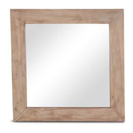 Naturel vierkante houten spiegel landelijk stoer 60 x 60 cm hout