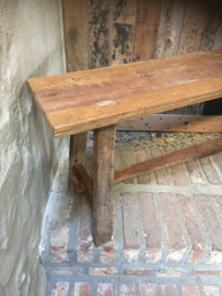Oud landelijk vergrijsd houten bankje bank kruk sidetable buro kinderbureau 100 cm bijzettafel salontafel
