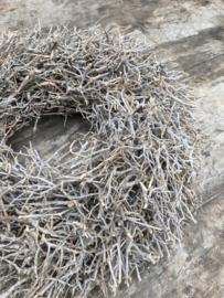 Vergrijsde krans krans landelijk takken dry bush 48 cm sober beige naturel
