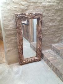 Grote vergrijsd houten spiegel drijfhout driftwood 40 x 40 cm