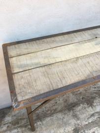 Stoere landelijke houten metalen Sidetable buro 120 cm werkbank tuintafel markttafel industrieel landelijk klaptafel