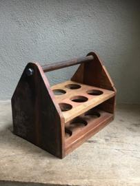 Sloophouten houten kratje krat flessenhouder bier beer met opener landelijk stoer industrieel (echt mannen kado)
