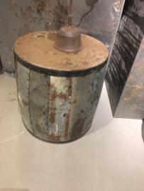 Stoere metalen bijzettafel 45 cm bijzettafeltje tafel tafeltje industrieel landelijk stoer metaal ijzer urban grijsbruin