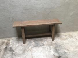 Oud landelijk vergrijsd naturel houten bankje bank kruk sidetable buro kinderbureau 100 cm bijzettafel salontafel