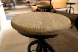 Industriele landelijke in hoogte verstelbare kruk barkruk eettafel hoogte stoer hout metaal industrieel landelijk vintage new urban
