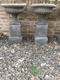 Set tuinvaas en sokkel beton betonnen grijs landelijk stoer robuust sober