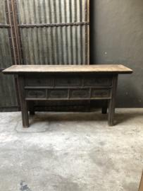 Prachtig vergrijsd grijs oud houten sidetable ladenkast ladekast landelijk stoer 173 x 50 x H85 cm