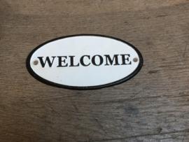 """Gietijzeren plaatje ovaal deur groot bordje welkomstbordje naambordje welkom  """"welcome"""" naamplaatje deurplaatje"""
