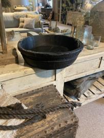Zwarte houten olijfbak schaal bak landelijk stoer