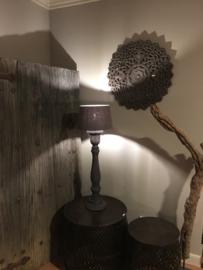 Ronde houten Mandela wandpaneel rond bruin grijs  60 cm wandornament landelijk hout