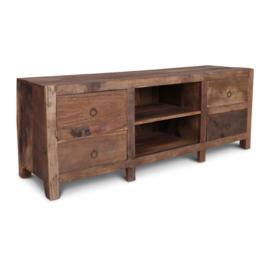 Prachtig oud houten tvmeubel televisiekast kast tv televisie sidetable ladenkast landelijk stoer industrieel