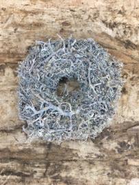 Brocant klein kransje krans mos rendiermos bonsai grey vergrijsd landelijke stijl 25 cm