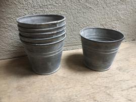 Zinken potje pot bakje eenvoudig recht landelijk grijs zink