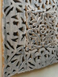 Vierkant houten paneel Wandpaneel grijs grey taupe wandornament tegel 60 x 60 cm wandornament landelijk Mandela afbeelding landelijk