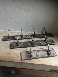 Metalen kapstok wandkapstok wandhaken 3 haken landelijk industrieel grijsbruin