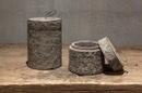 Vergrijsd houten potje met deksel stoer landelijk grijs 12 x 12 cm