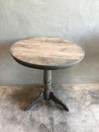 Oud vergrijsd houten tafel tafeltje rond 80 cm wijntafel wijntafeltje landelijk stoer grijs bijzettafel bijzettafeltje