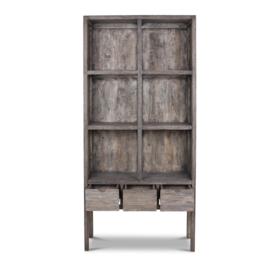 Prachtige grote grijze grijs houten kast boekenkast roomdivider met lades en schappen vakken vergrijsd 225 x 106 x 40 cm