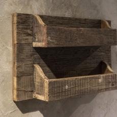 Oud houten wandrek landelijk stoer vintage industrieel oud grof hout 60 x 36 x 11 cm trucwood railway be uniq
