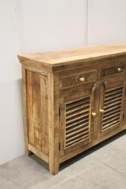 Stoer houten dressoir televisiemeubel tvmeubel tvkast dressoir Sidetable hout landelijk louvredeurtjes luikjes Louvre shutters