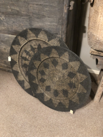 Rotan wandbord 50 cm bruin zwart