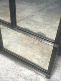 Prachtige zwarte zwart metalen spiegel verweerd stalraam kozijn stalraamspiegel venster 72 x 84 x 5 cm stoer industrieel urban landelijk vintage